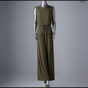 Simply Vera Wang olive elastic waist jumpsuit s